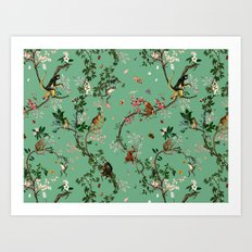 Monkey World Green Art Print