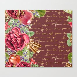 Elegant Christmas - burgundy rose Canvas Print