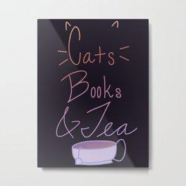 Cats, Books, & Tea Metal Print