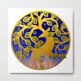 Magical Golden Stag Of The Forest At Dawn Metal Print