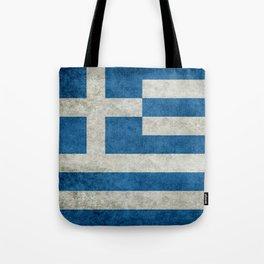 Flag of Greece, vintage retro style Tote Bag