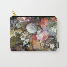 Worn vintage floral wood panel Carry-All Pouch
