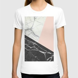 Black and White Marble with Pantone Pale Dogwood T-shirt