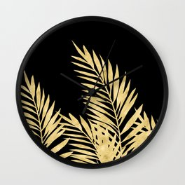 Palm Leaves Golden On Black Wall Clock