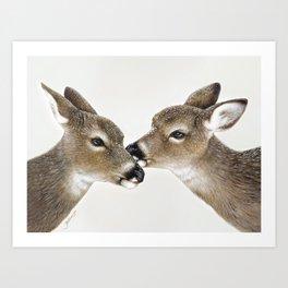 Kiss me my deer, by Claude Thivierge Art Print