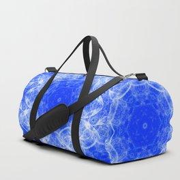 Fractal lace mandala in blue and white Duffle Bag