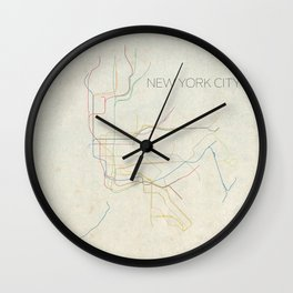 Minimal New York City Subway Map Wall Clock