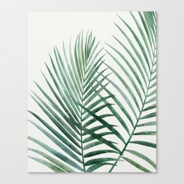 Emerald Palm Fronds Watercolor Canvas Print