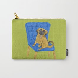 Happy Pug on a blue chair Carry-All Pouch