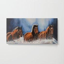 Water Horses Metal Print