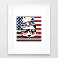 patriotic Framed Art Prints featuring Patriotic Panda by crayzeestuff
