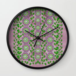 ivy and  holm-oak with fantasy meditative orchid flowers Wall Clock