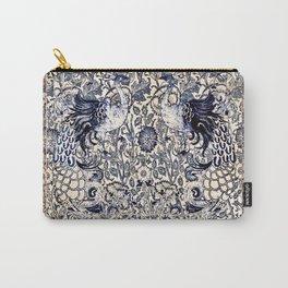 Vintage Indigo Peacocks Carry-All Pouch
