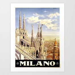 0069 Vintage Travel Poster Art Milano