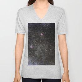 Starry sky with millions of stars, Milky Way galaxy, Eagle nebula, Omega nebula Unisex V-Neck