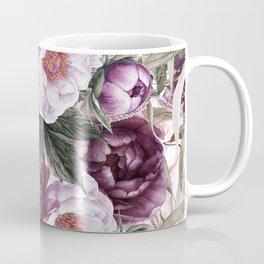 Purple Plum Pink Watercolor Peonies and Greenery Coffee Mug