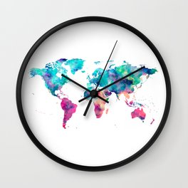 World Map Turquoise Pink Blue Green Wall Clock
