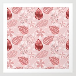 Red and White Floral Leaf Pattern shades of red Art Print