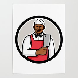 African American Butcher Circle Mascot Poster