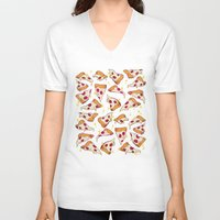 pizza V-neck T-shirts featuring pizza by Erin Lowe
