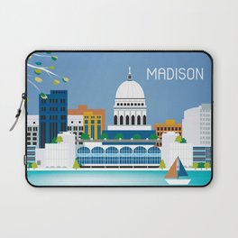Madison, Wisconsin - Skyline Illustration by Loose Petals Laptop Sleeve