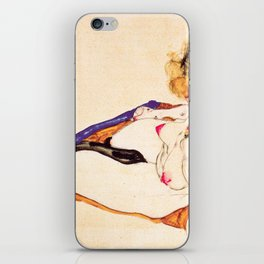 Egon Schiele - Blonde nude model sitting on brown cloth iPhone Skin