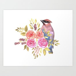 cedar waxwing with pink and orange roses and leaves Art Print
