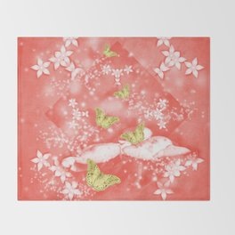 Gold butterflies in magical mushroom landscape Throw Blanket
