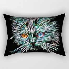 Odd-Eyed White Glowing Cat Rectangular Pillow