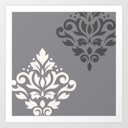 Scroll Damask Art I Cream & Grays Art Print