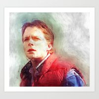 mcfly Art Prints featuring Marty Mcfly by Kaivan Askari