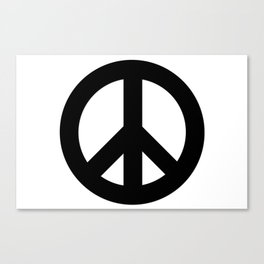 Black on White CND Peace Symbol Canvas Print