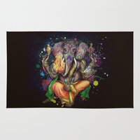 ganesh Area & Throw Rugs featuring Colorful Ganesh by Denise Esposito