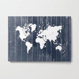 world map 98 white #worldmap #map Metal Print