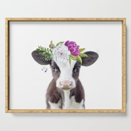 Baby Cow with Flower Crown Serving Tray