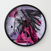 indian Wall Clocks featuring Indian by Marlon Hammes