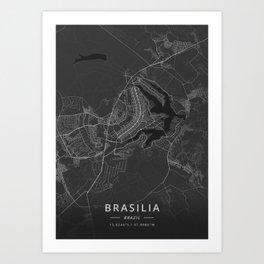 Brasilia, Brazil - Dark Map Art Print
