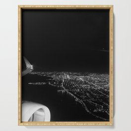 Chicago Skyline. Airplane. View From Plane. Chicago Nighttime. City Skyline. Jodilynpaintings Serving Tray