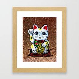 Lucky cat kitty beckoning cat Maneki Neko Fortune waving Feng Shui lucky charm Framed Art Print