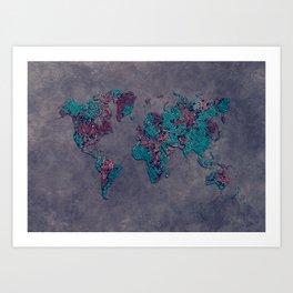 world map 83 green mosaic Art Print