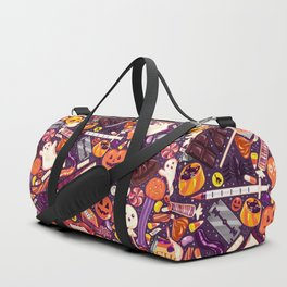 Creepy Halloween Candy on Purple Duffle Bag