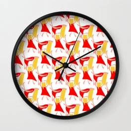 Dancing woman in a red dress and with blond yellow hair Wall Clock