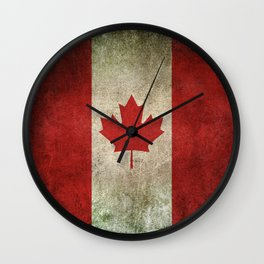 Old and Worn Distressed Vintage Flag of Canada Wall Clock