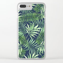 Tropical Branches on Dark Pattern 04 Clear iPhone Case