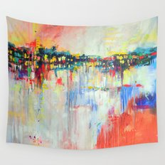 on the water,  expressive landscape, abstract Wall Tapestry