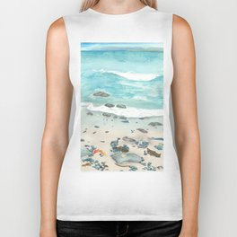 Cold day at the beach Biker Tank