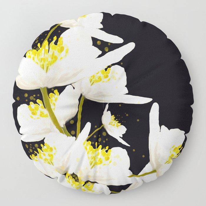 White Flowers On A Black Background #decor #buyart #society6 Floor Pillow