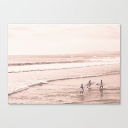 Vintage Sunset Surfing Canvas Print