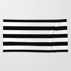 Midnight Black and White Stripes Beach Towel