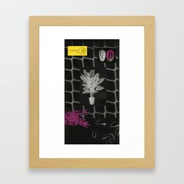 Strong Saints - Magic Dark collage with key, saints, net, shells, plants and grid Framed Art Print